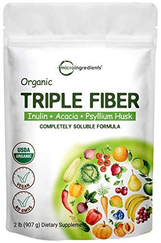Organic Fiber Supplement (Inulin from Chicory Root, Acacia, Psyllium Husk), 2 Pounds, 3 in 1 Fiber Complex, Premium Fiber Prebiotics Supplement for Digestive Health, Water Soluble