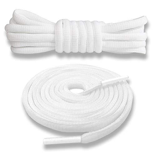 Junlic Schnürsenkel Rund, [3 Paar] Reißfest Ersatz Schuhbänder 100% Polyester 6 mm breit Schnürsenkel für Sportschuhe und Sneaker Weiß