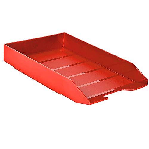 Acrimet Vassoio Portalettere Impilabile Singolo Laterale in Plastica Vaschette Portadocumenti per Ufficio (Rosso) (1 unità)