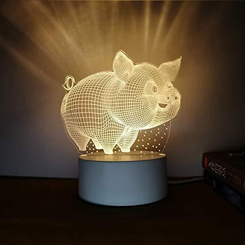 Kreatives Nachtlicht 3D dreidimensionale Beschriftung DIY Persönlichkeit Design Tischlampe Geschenk praktische sinnvolle Fliegende Schwein Tricolor 3W