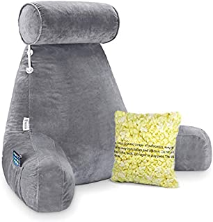 Vekkia Premium Soft Reading & Bed Rest Pillow with Higher Support Arm, Pocket, Memory Foam, Detachable Neck Roll. Back Support for Reading/Relaxing/Watching TV - Extra Foam Incl.Customize Softness-24""