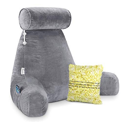 Vekkia Premium Soft Reading & Bed Rest Pillow with Higher Support Arm, Pocket, Free Neck Pillow. Back Support for Reading/Relaxing/Watching TV - Extra Foam Incl-24""