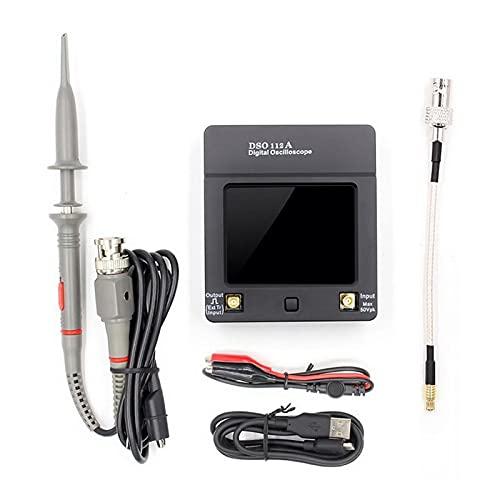 LIXUDECO Osciloscopio Interfaz portátil del osciloscopio USB 2MHz 5MSPS DSO112A portátil TFT TFT Mini Pantalla de Contacto táctil de Osciloscopio Digital. (Color : DSO 112A 1clip Probe)