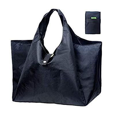 DZTSMART Reusable Folding Shopping Bag, Eco Polyester Foldable Grocery Tote or Waterproof Lunch Bag, Heavy Duty Washable Carry Bag (Black, Large)