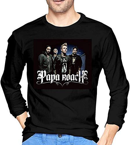 Hombres Negro de manga larga Papa Roach T Shirt para hombres Gráfico Cuello redondo Tee Top Custom Tees Ropa