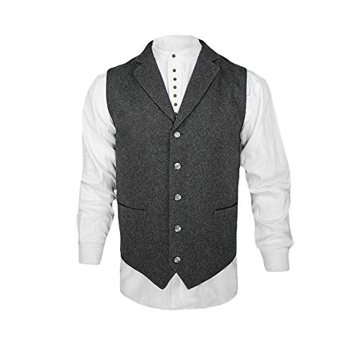 The Celtic Ranch Western Style Wool Lapel Vest, Blended Wool Vest with Lapels, Full-Back with Elastic Cinch and 4 Pockets, Charcoal (Large)