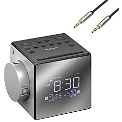 Sony Compact AM/FM Dual Alarm Clock Radio with Large LED Display Plus 6ft Kubicle Aux Cable Bundle
