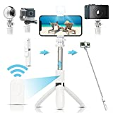 Arikaree® Bastone Selfie Stick 2021 Con Luce Per Selfie LED, Bluetooth, Treppiede Smartph...