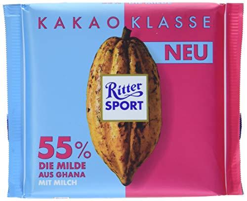 RITTER SPORT Kakao-Klasse: Die Milde 55 % aus Ghana (12 x 100 g), dunkle Milchschokolade mit edlem Kakao aus Ghana, mit einem Hauch Vollmilch, Kakaogehalt: mind. 55 %