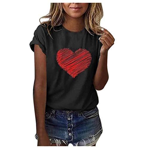 Ba Zha HEI New Mode Frauen Brief Bluse T-Shirt Kurzarm lose Modisch Damen T-Shirt Rundhals Kurzarm Ladies Sommer Oberteil Locker Bluse Sommer Weiß Schwarz Oberteile Mode Tops (Schwarz, L)