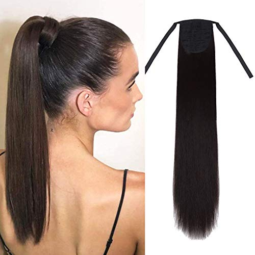 Eerya-Long Straight Ponytail Hair Extension in Dark Brown