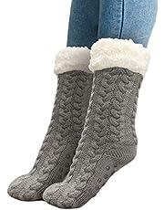 Slipper Sokken Ultra-Pluche Fleece Antislip Handvatten 1 Paar Dikke Homewear Lounge Sokken