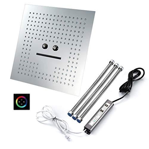 GYL Cabezal de Ducha LED de 16 Pulgadas Cuadrado Acero Inoxidable Alto Flujo Alcachofa de La Ducha Modo 4 Masajeando el Cuerpo Mando a Distancia Inteligente (Style : Touchpad Control)