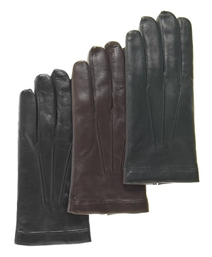Fratelli Orsini Men's Italian Cashmere Lined Touchscreen Leather Gloves Size 11 Color Black