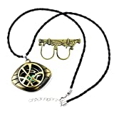 XOFOAO Doctor Strange Necklace Eye of Agamotto Costume Prop Stone Pendant with Sling Ring
