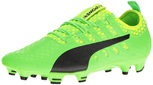 PUMA Men's Evopower Vigor 2 FG Soccer Shoe, Green Gecko Black-Safety Yellow, 12 M US