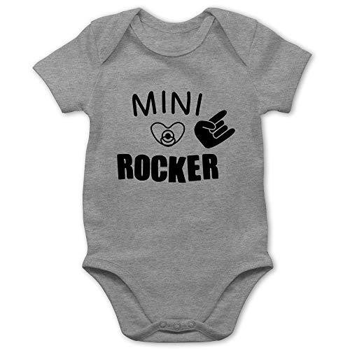 Strampler Motive - Mini Rocker - 12/18 Monate - Grau meliert - Baby Body Mini Rocker - BZ10 - Baby Body Kurzarm für Jungen und Mädchen