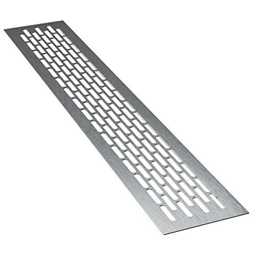 sossai® Aluminium Lüftungsgitter - Alucratis (1 Stück) | Rechteckig - Maße: 48 x 8 cm | Farbe: Inox | gebürstet