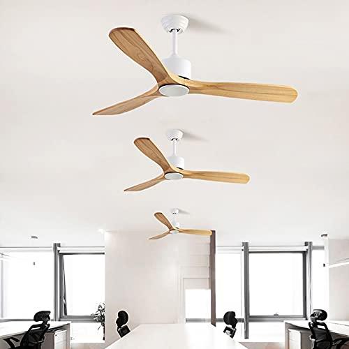 L-WSWS Luz del ventilador de techo Ventilador de techo de lujo Restaurante de madera Inicio Techo Ventilador Estilo americano Simple Hogar Nordicador de techo sin luz 220V 110V (Blade Color : White)