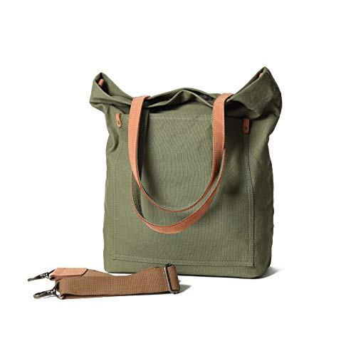 Canvas Transport Tote Handbag Shoulder Crossbody Bag For Men & Women Double Genuine Leather Handles (Medium Green)