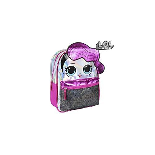 Cerdá - Mochila Infantil Metalizada Brillante de LoL Surprise de Color Rosa Fucsia - Licencia Oficial LOL Surprise