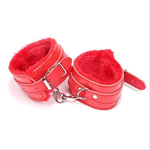 LBBD ral PU-Leder-Armband, P-üppig, Handschellen für Erwachsene, Frauen, Paare, Rollenspiel-Requisiten, Bonda'ge DeviceT-Shirt Sonnenbrille (Farbe: Rot)