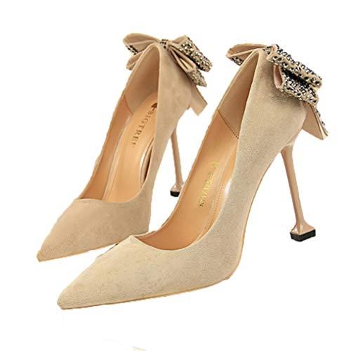 Zapatos formales de mujer Cuero de gamuza Slip-On Nudo de lazo Diamantes de imitación Louis Tacón Banquete Punta estrecha Zapatos de tacones altos de moda