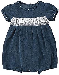 الوليد الطفل بنات الدانتيل الدنيم الأزهار الأميرة رومبير الرضع بذلة ملابس ملابس الصيف (Color : Blue, Kid Size : 6M)