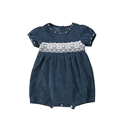 FURONGWANG6777BB Newborn Baby Girls Lace Denim Floral Princess Ramper Babies Jumpsuit Trajes Ropa Verano (Color : Blue, Kid Size : 18M)