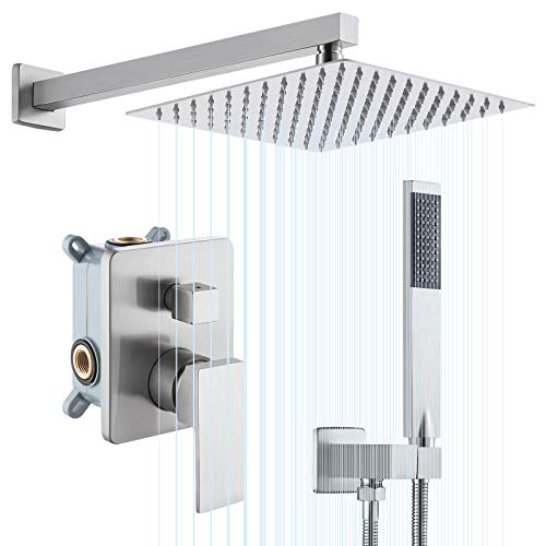 KES Shower System Shower Faucets Sets Complete 10 Inches Rain Shower Head Brushed Nickel Square Pressure Balance Shower Valve and Trim Kit, XB6230-BN