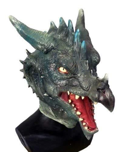 De Rubber Plantation TM 619219293297 Deluxe Groen Latex Dragon Mask Volledige Hoofd Rol Spelen LARP Fantasie Cosplay Kostuum door Coopers Fancy Dress, Unisex-Volwassene, Een Maat