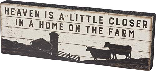 Primitives by Kathy 39382 Rustic Box Sign, 16 x 5.5-Inches, Heaven is A Little Closer on The Farm
