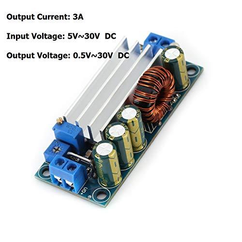 DC-DC Wandlermodul,DC zu DC Leistungswandler Modul 35W 3A CC CV Hoch- / Tiefsetzsteller DC-DC 5V-30V auf 0,5V-30V, DC Boost / Buck Modul 180 kHz Spannungswandler Modul