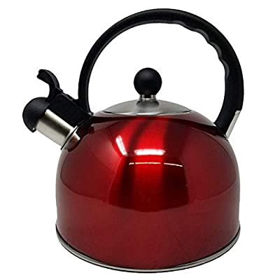 Whistling Stovetop Tea Kettle- Stainless Steel Tea Kettle- Tea Pot Serves up to 10.5 Cups- with Cool Grip Ergonomic Handle- Rust Resistant 2.5 Liter Stovetop Kettle- by Millennium (RED))