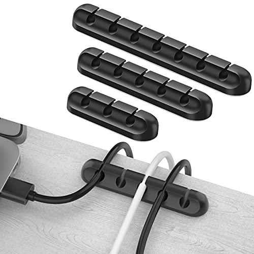 3 soportes para cables, clips para cables, organizador de cables de silicona...