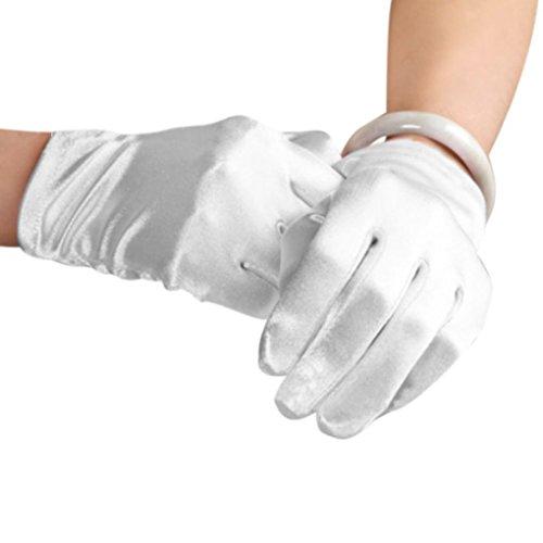 Eleganti guanti in raso da donna, elasticizzati, lunghezza fino al polso, per travestimenti, balli, serate, ballo di fine anno, matrimoni e passeggiat
