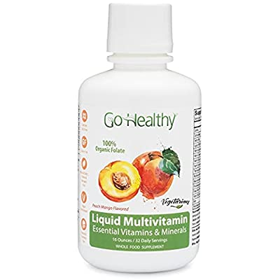 Go Healthy Natural Liquid Multivitamin with Organic Folate, Vegetarian, Plant-Based Whole Food Women Men Teens 32 Servings