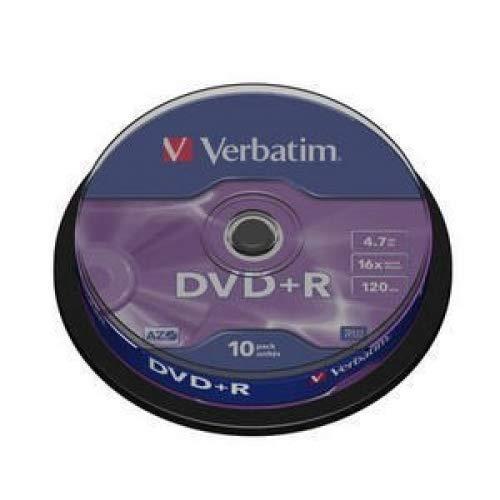 Verbatim DVD+R 4,7GB - 16-fache Brenngeschwindigkeit - Kratzschutz - hohe Lebensdauer - DVD-Rohlinge - 10er Pack Spindel