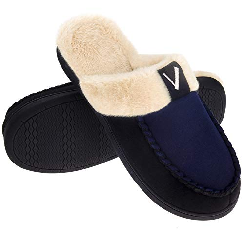 Men's Memory Foam Slippers Moccasin Slip-on Scuff House Shoes Fuzzy Faux Fur Lining Indoor Outdoor Winter Warm, Navy Blue/Black, Size 11-12