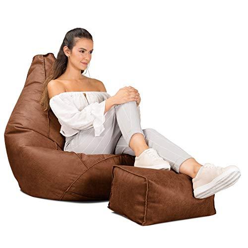 Lounge Pug®, Silla De Juego Puf con Escabel, Piel Envejecida Marrón británico
