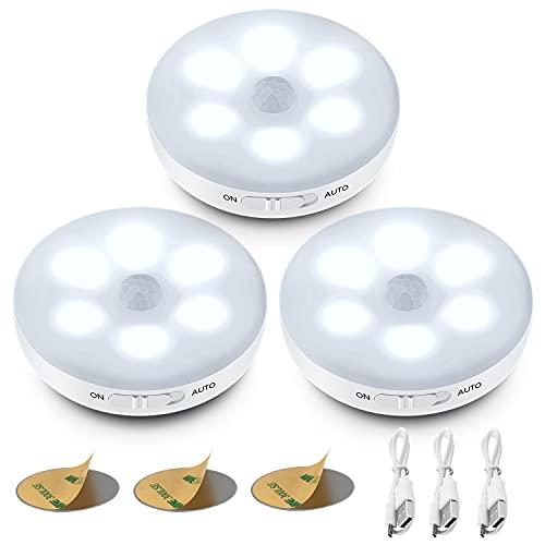 Luz Nocturna,ICEKO-KN 3-Pack Luces LED con Sensor Movimiento a Pilas, Luz Armario USB Recargable con 3 Modos, Luz LED Adhesiva para Armarios,Pasillo, Escalera, Sótano, Cocina.(Blanco)