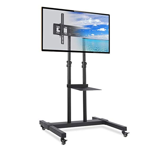 Rfiver Rolling TV Stand with Wheels/Tilt Mount for 37-80 Inch Flat Screen/Curved TVs, Mobile Floor TV Cart with Shelf for Laptops, Portable Outdoor Display Trolley, Height Adjustable, Max Load 110lbs