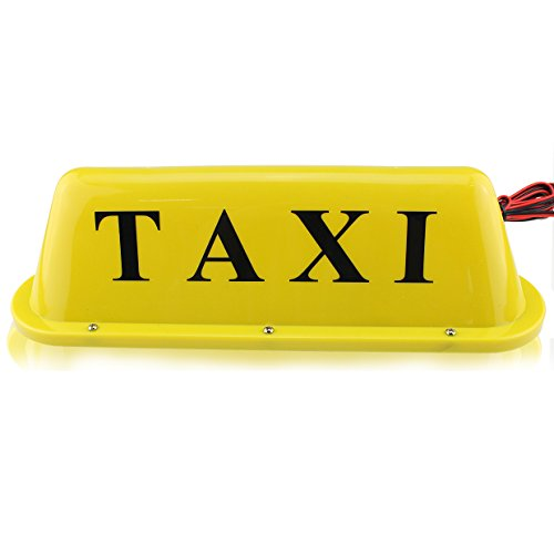 12V Magnetic Waterproof yellow Taxi Cab Roof Top Illuminated Sign Car Bulbs Light Sealed Base with 3m power cable