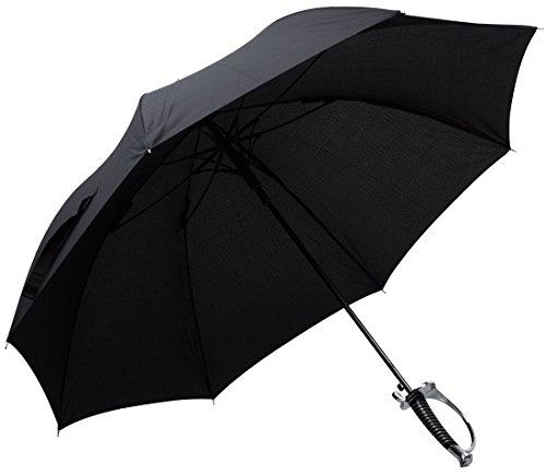 Regenschirm im Säbel Design - Schwarz ca. 110 cm Durchmesser - Gadget Langschirm als Geschenkidee - Grinscard