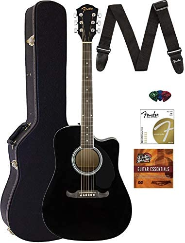 Fender FA 125CE Dreadnought Cutaway Acoustic Electric Guitar Black Bundle with Hard Case Strap product image