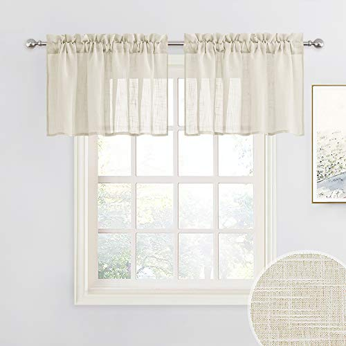RYB HOME Window Toppers Valances - Semi Sheer Valances Pleated Rod Pocket Linen Textured Fabric Window Dressing for Kitchen, Kids Room Short Drapes, Warm Beige, W 52 x L 18 Each Panel, Set of 2