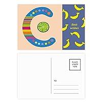 cのアルファベットのオレンジ色の果物は、かわいいパターン バナナのポストカードセットサンクスカード郵送側20個