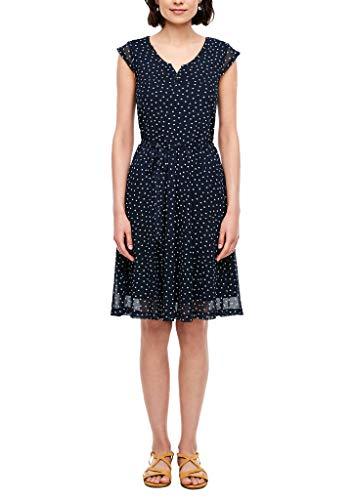s.Oliver Damen Mesh-Kleid mit Allovermuster Navy Polka dots 36