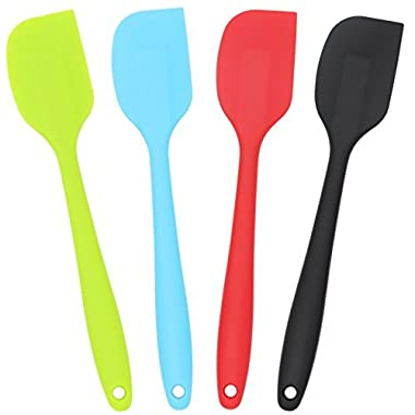 Silicone Spatula 4-piece Set, Heat-Resistant Spatulas, Non-stick Rubber Spatulas with Stainless Steel Core