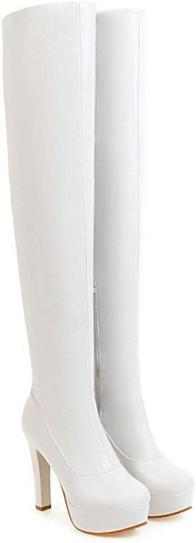 a09d006fd Webb Perkin Women Stretch Thigh Boots Platform Side Zipper Over The Knee  shoes Brown White Black